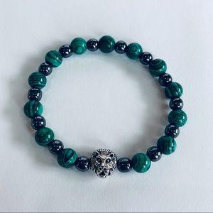 "Lion Hearted Malachite Gemstone Bracelet 6.5"", 8mm"